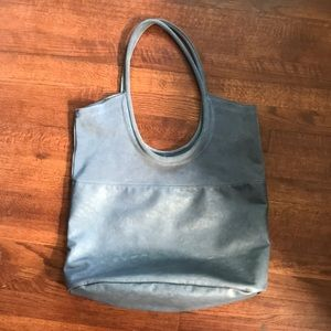 Large leather and suede tote bag